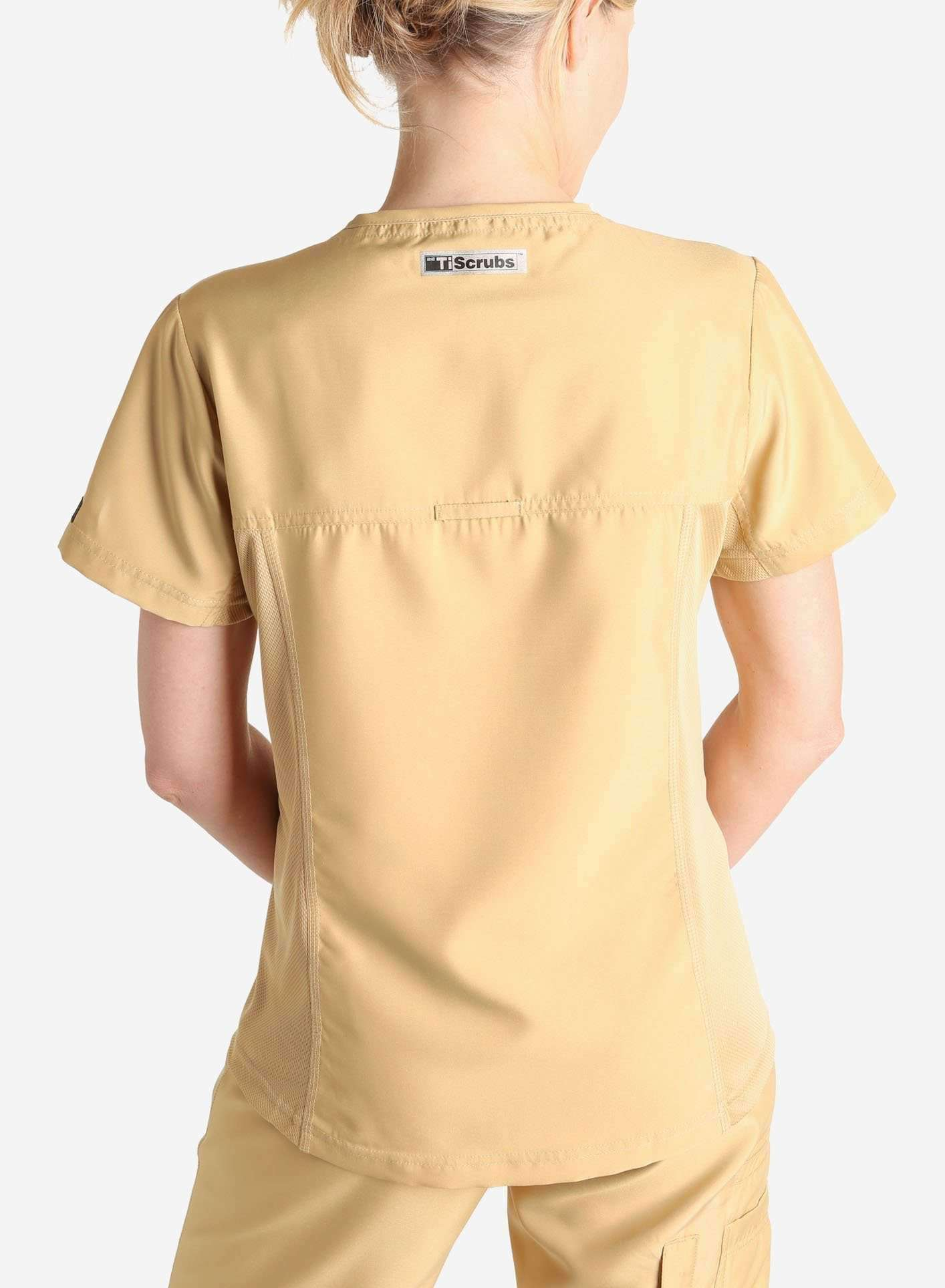 Womens khaki short sleeve scrub top back