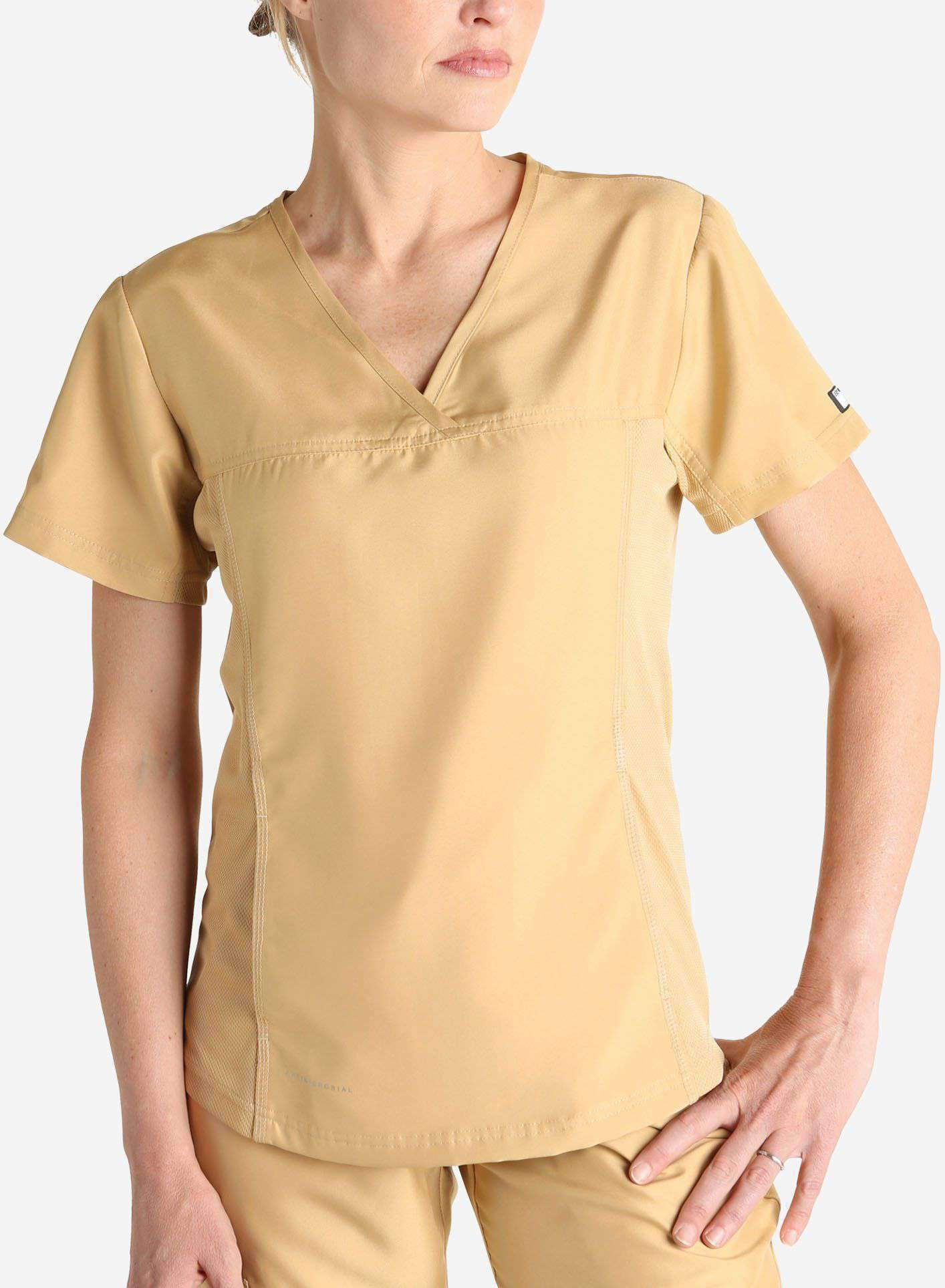 Womens khaki short sleeve scrub top front