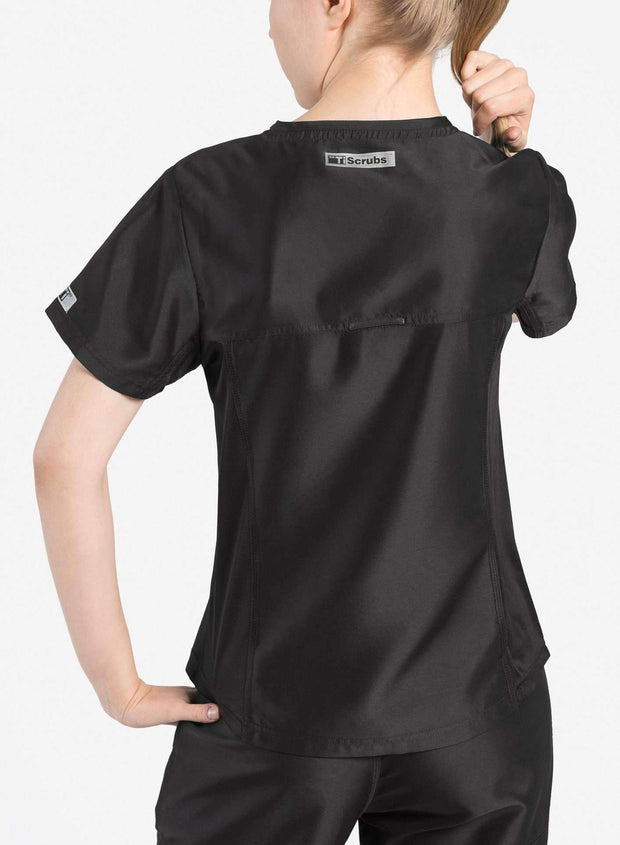 womens Elements short sleeve hidden pocket scrub top black