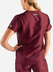 womens Elements short sleeve hidden pocket scrub top Bold burgundy