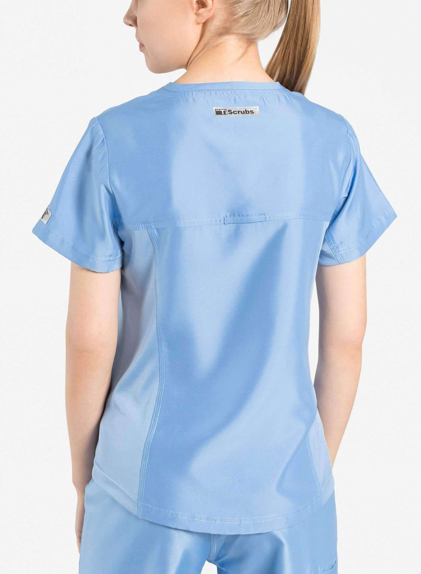 womens Elements short sleeve hidden pocket scrub top ceil blue