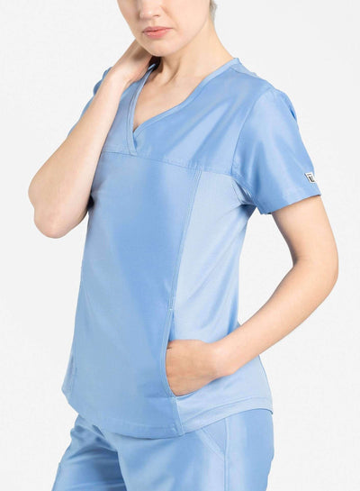 womens Elements short sleeve hidden pocket scrub top ceil-blue