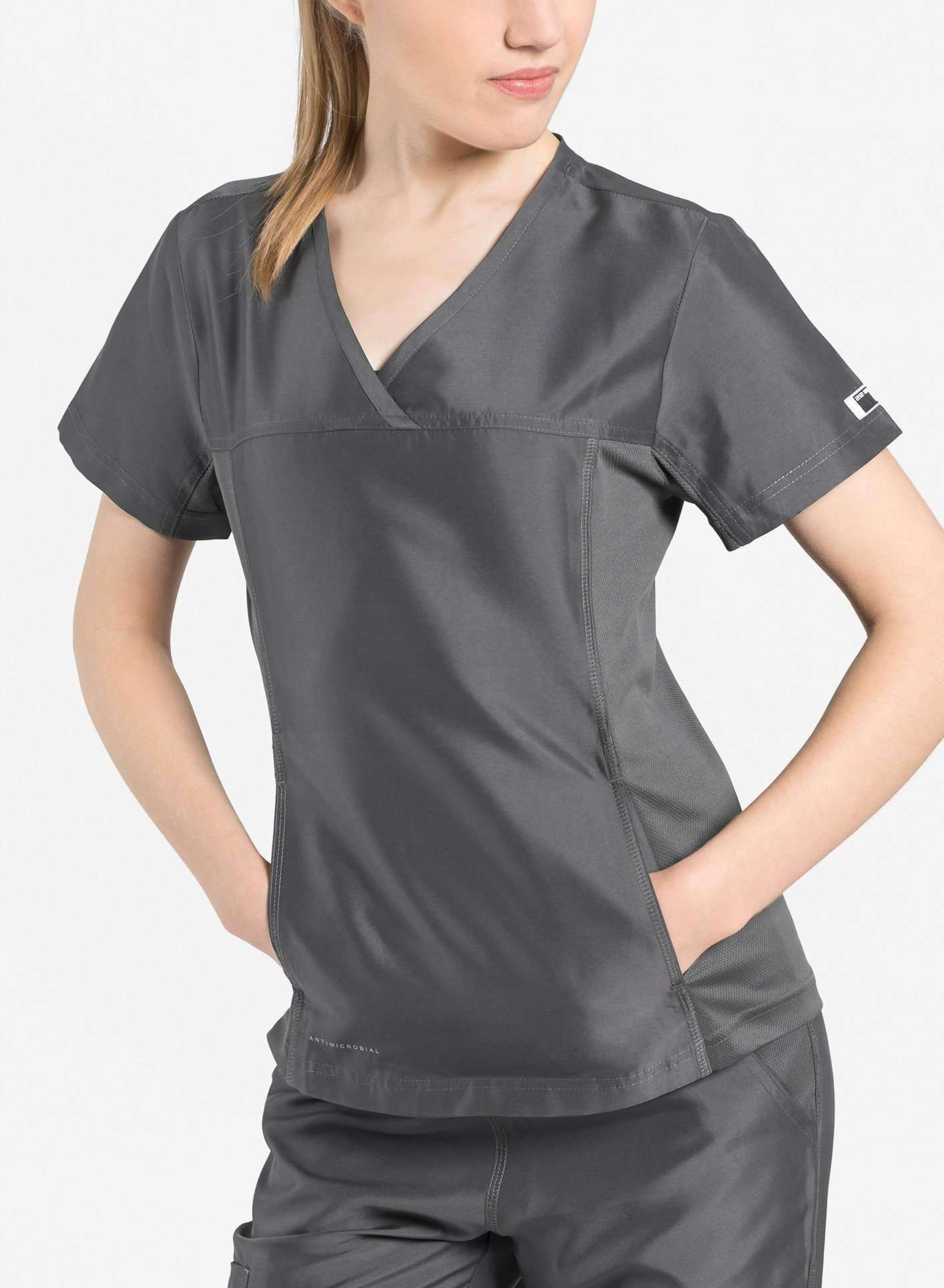 womens Elements short sleeve hidden pocket scrub top dark grey