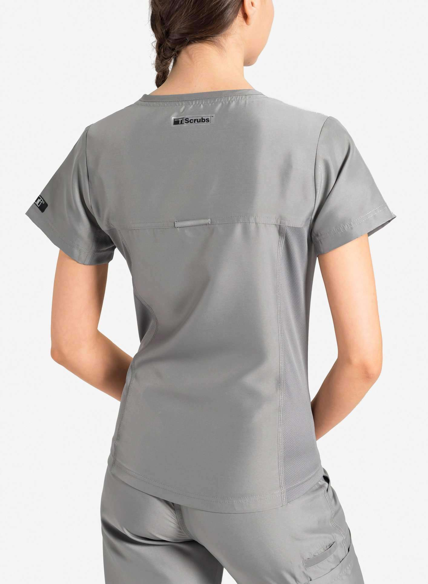 womens Elements short sleeve hidden pocket scrub top light grey