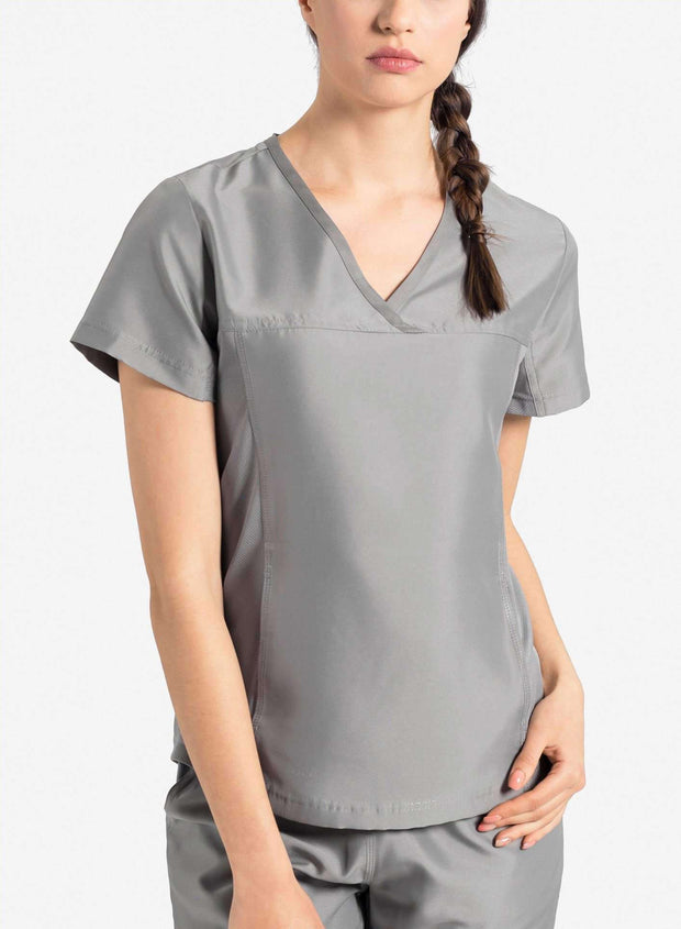 womens Elements short sleeve hidden pocket scrub top light gray