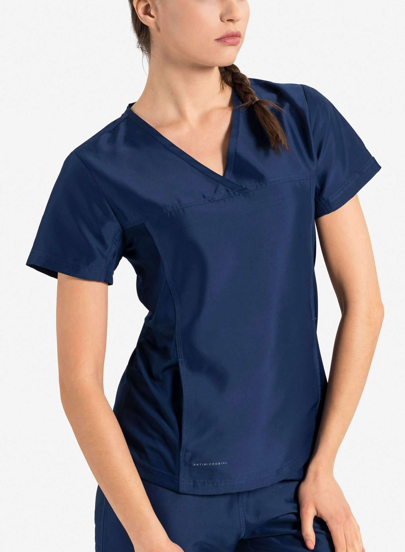 womens Elements short sleeve hidden pocket scrub top navy blue