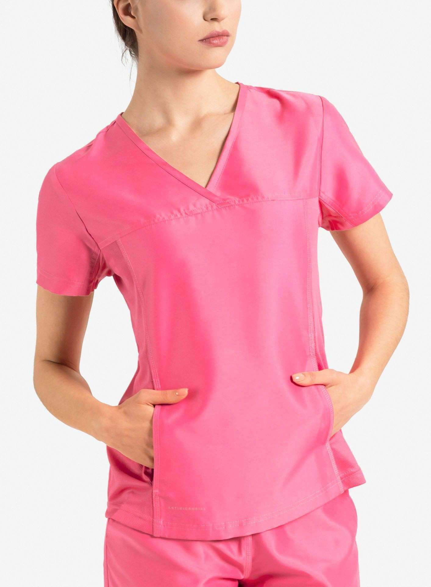 womens Elements short sleeve hidden pocket scrub top pink
