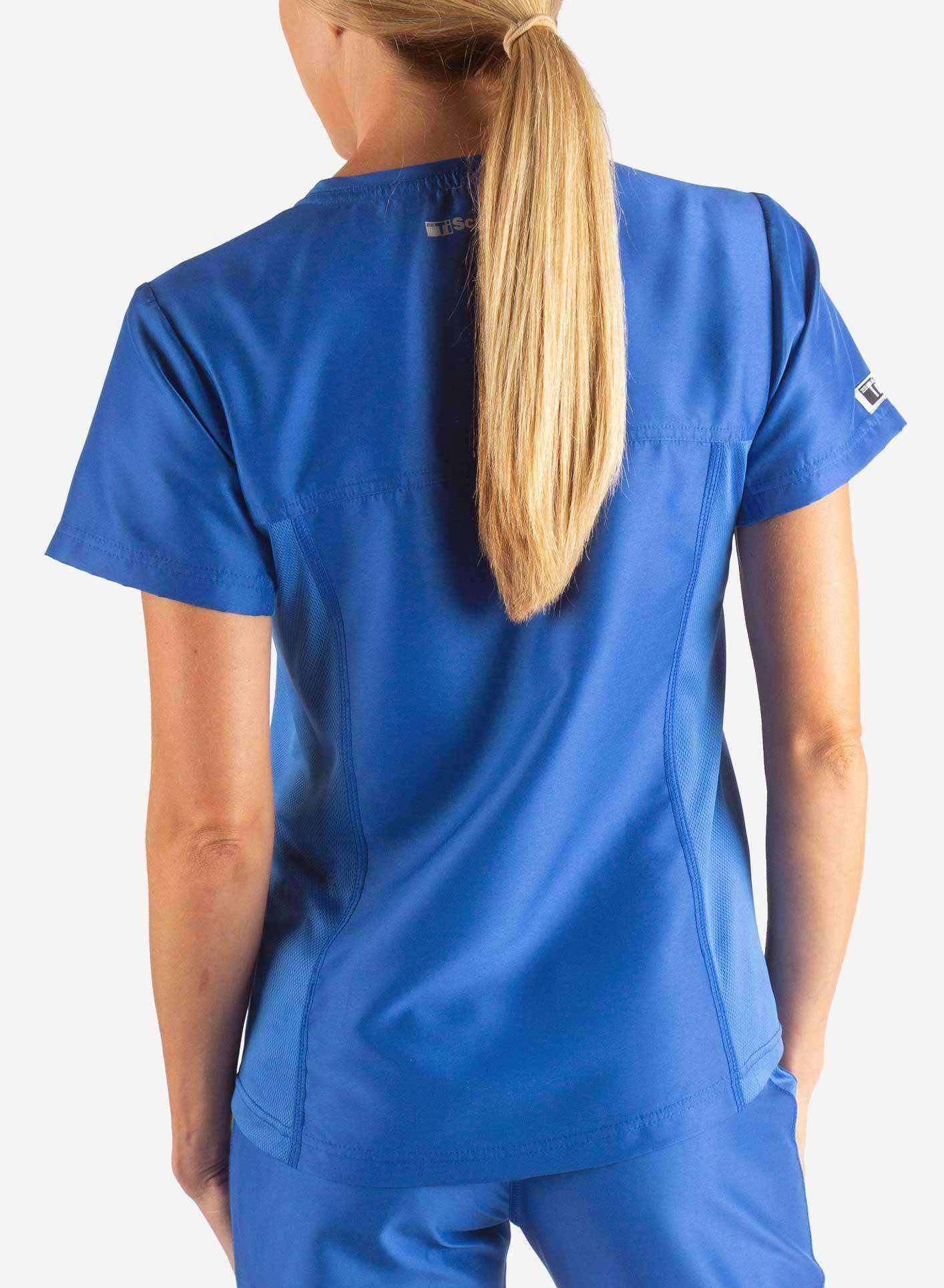 womens Elements short sleeve hidden pocket scrub top Royal Blue back