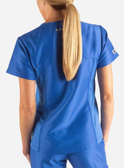 womens Elements short sleeve hidden pocket scrub top back royal-blue