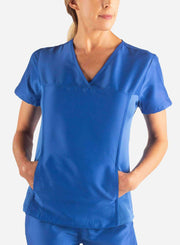 womens Elements short sleeve hidden pocket scrub top front royal-blue