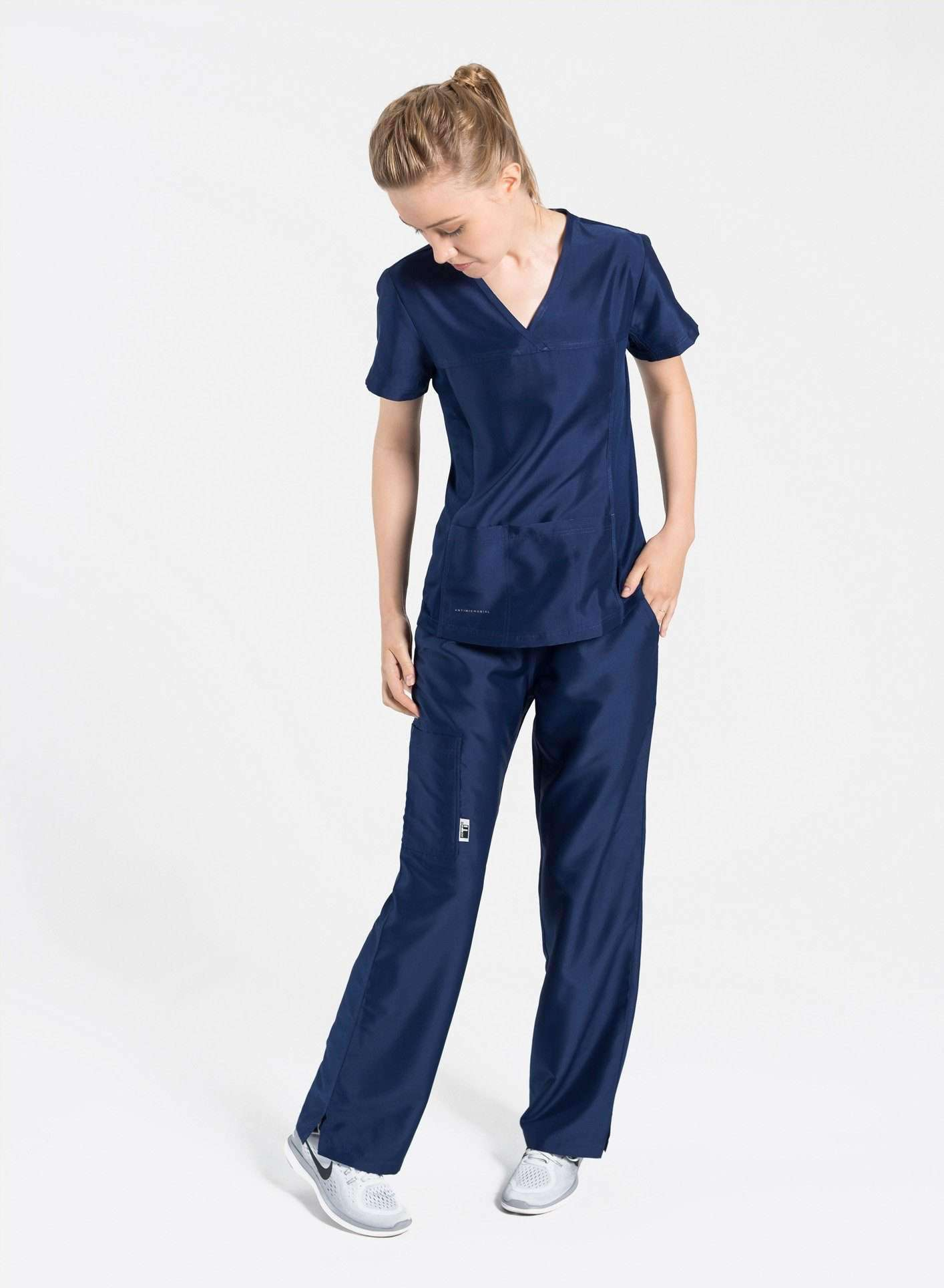 womens Elements short sleeve three pocket scrub top navy blue