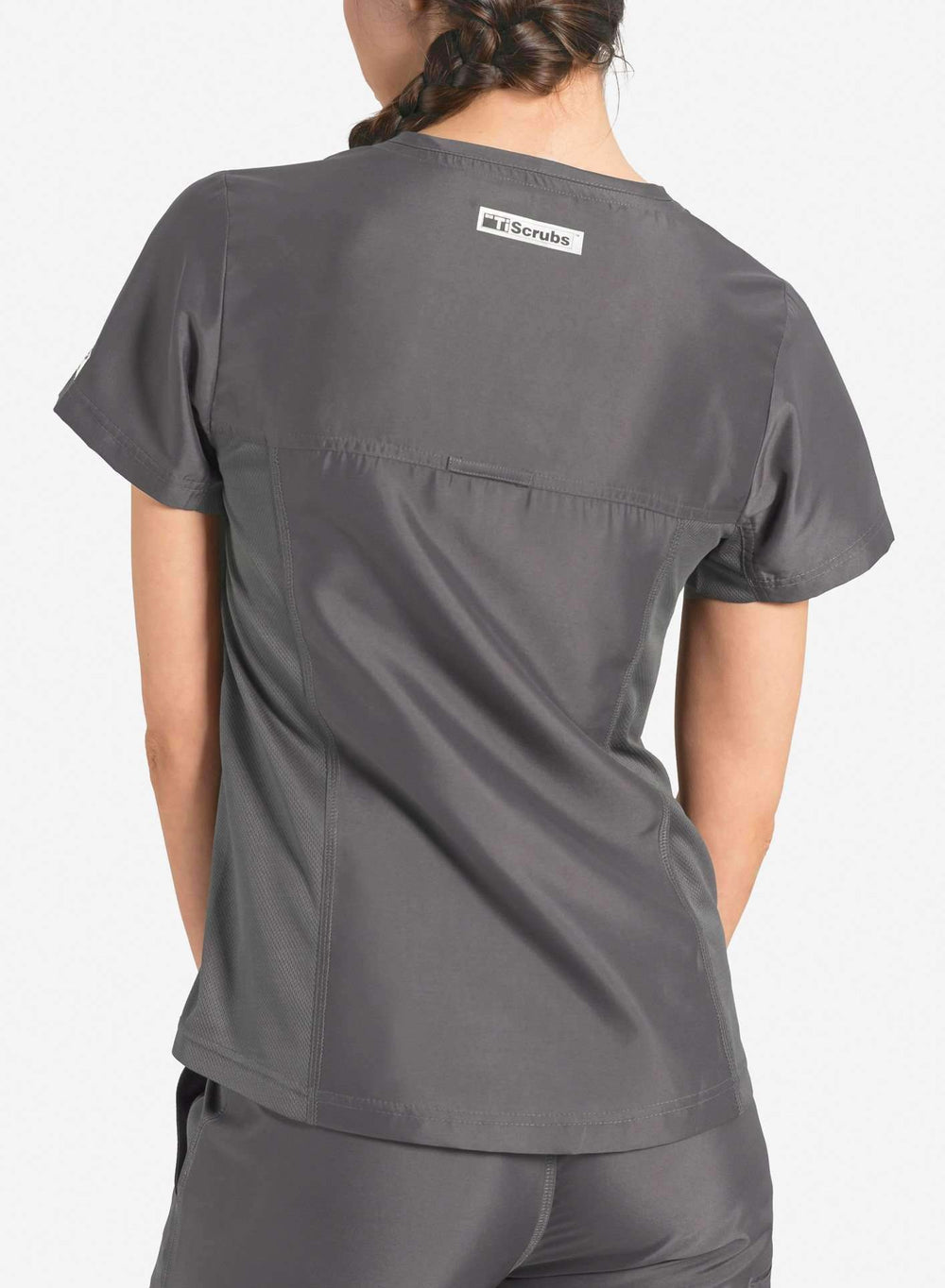 womens Elements short sleeve three pocket scrub top dark grey