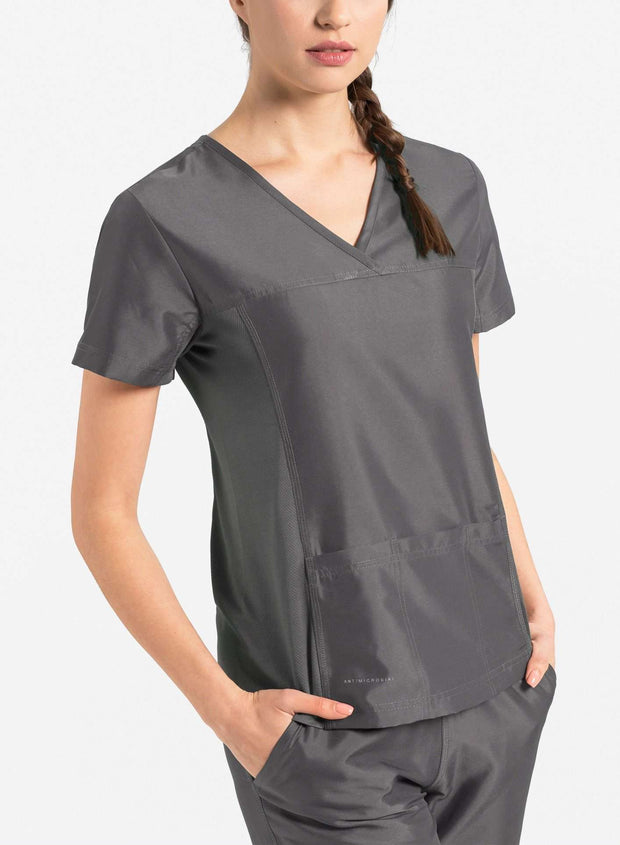 womens Elements short sleeve three pocket scrub top dark gray