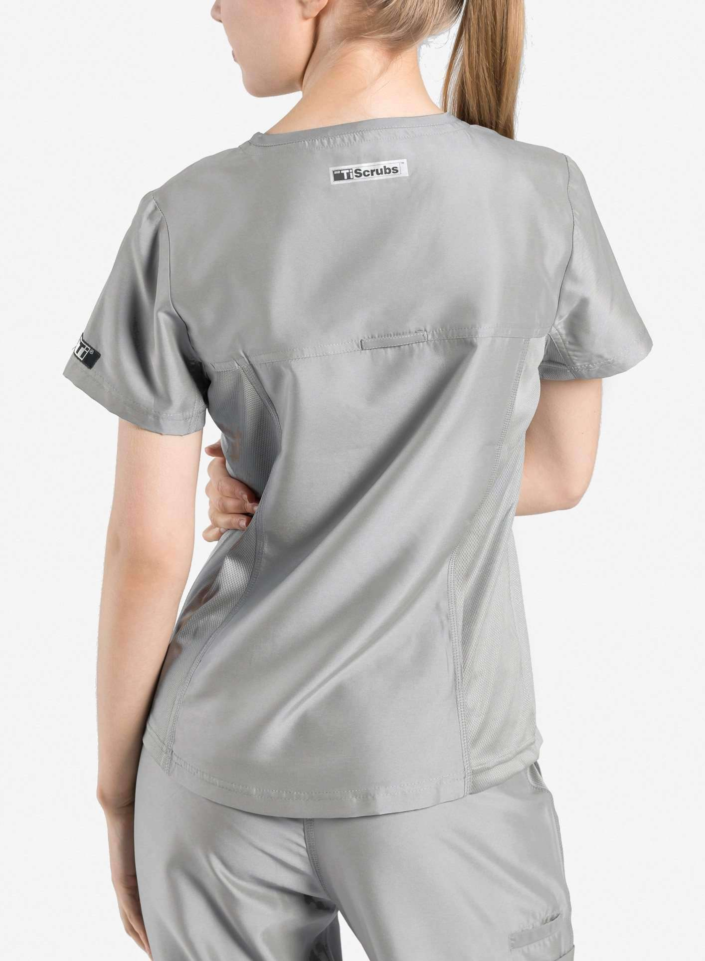 womens Elements short sleeve three pocket scrub top light grey