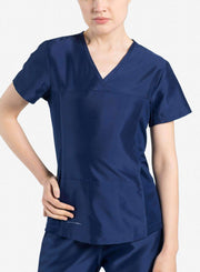 womens Elements short sleeve three pocket scrub top navy-blue