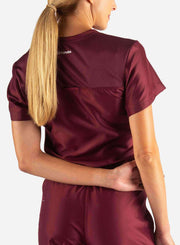 Women's Tuckable Scrub Top in Bold Burgundy Back