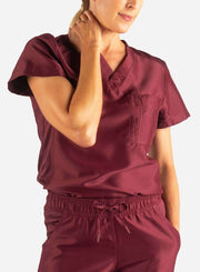 Women's Tuckable Scrub Top in Bold Burgundy Front