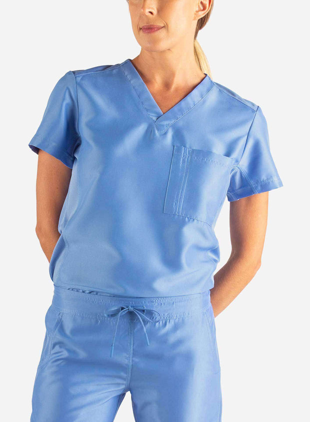 Women's Tuckable Scrub Top in Ceil Blue Front