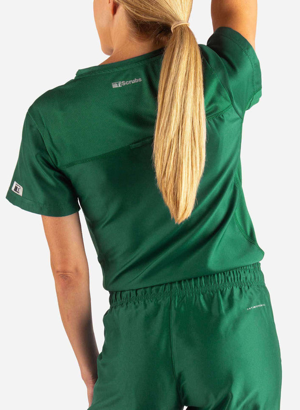 Women's Tuckable Scrub Top in Dark Green Back