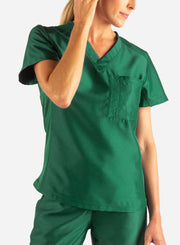 Women's Tuckable Scrub Top in Dark Green Front