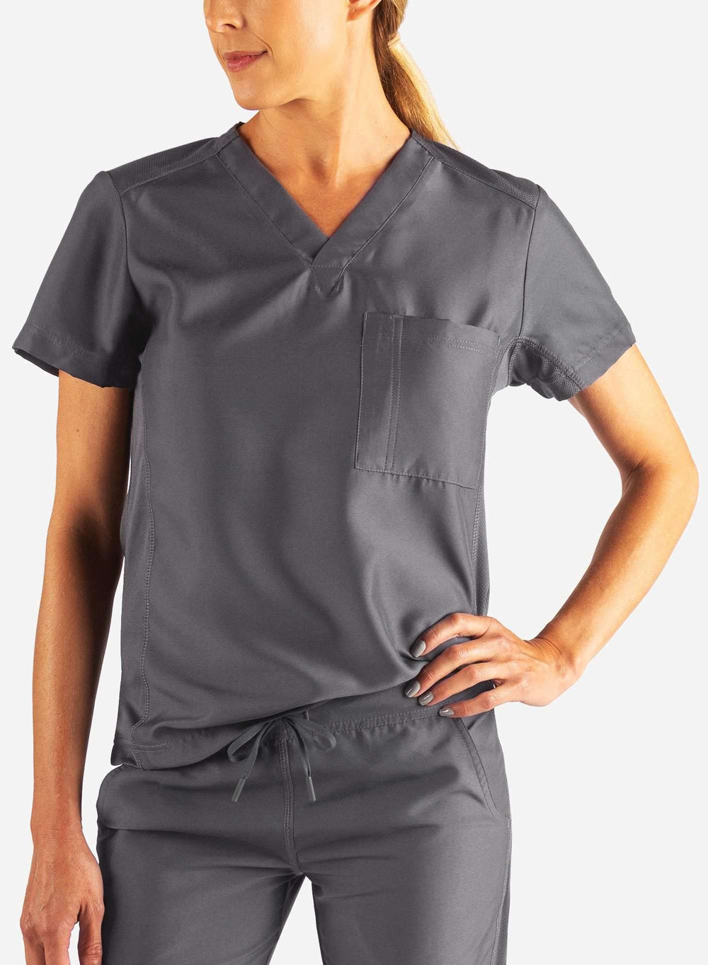 Women's Tuckable Scrub Top in Dark Grey Front