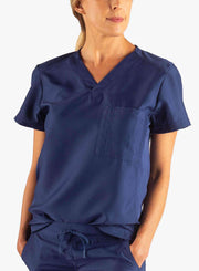 Women's Tuckable Scrub Top in navy-blue