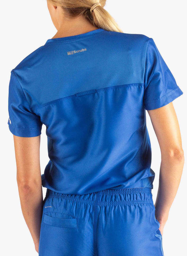 Women's Tuckable Scrub Top in Royal Blue Back