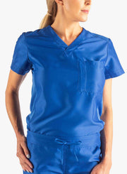 Women's Tuckable Scrub Top in Royal Blue Front