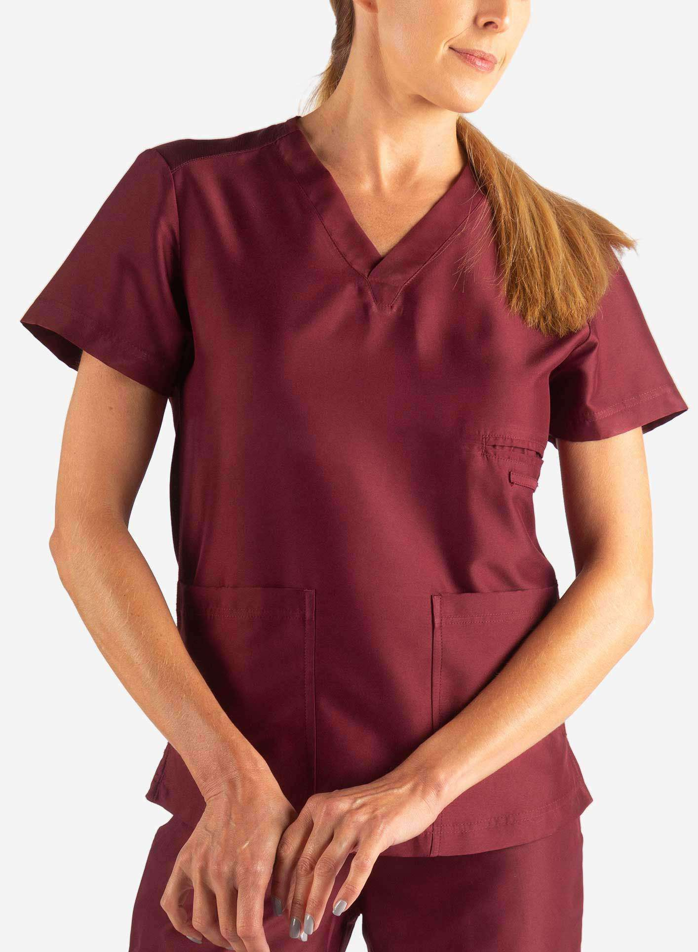 Women's 2 Pocket Scrub Top in Bold Burgundy Front
