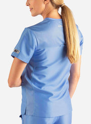 Women's 2 Pocket Scrub Top in ceil-blue