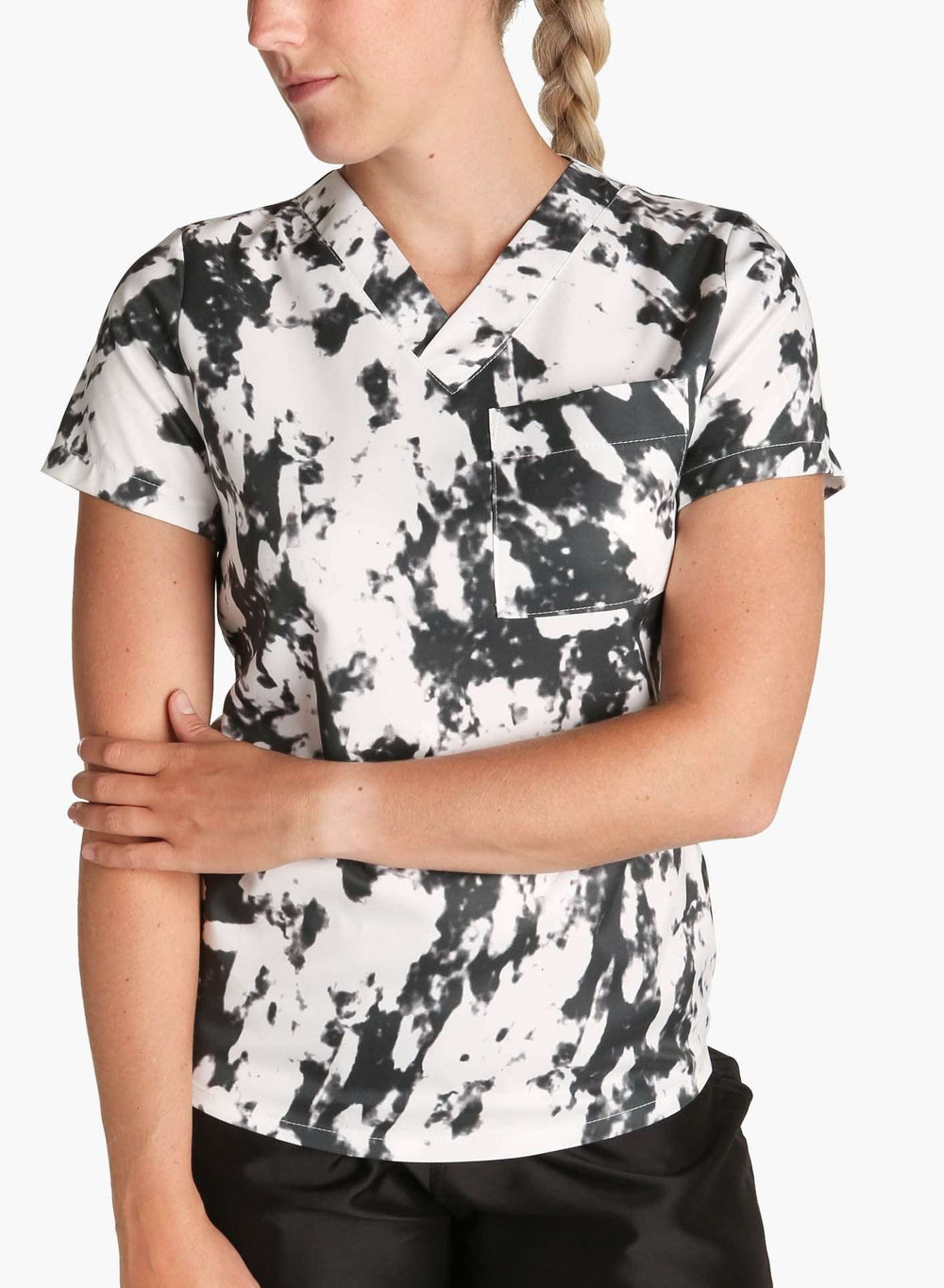 womens stretch scrub top in athletic abstract print black and white color front