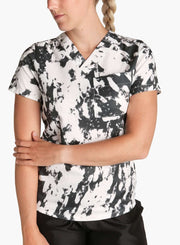 womens stretch scrub top in athletic abstract print black and white color front black