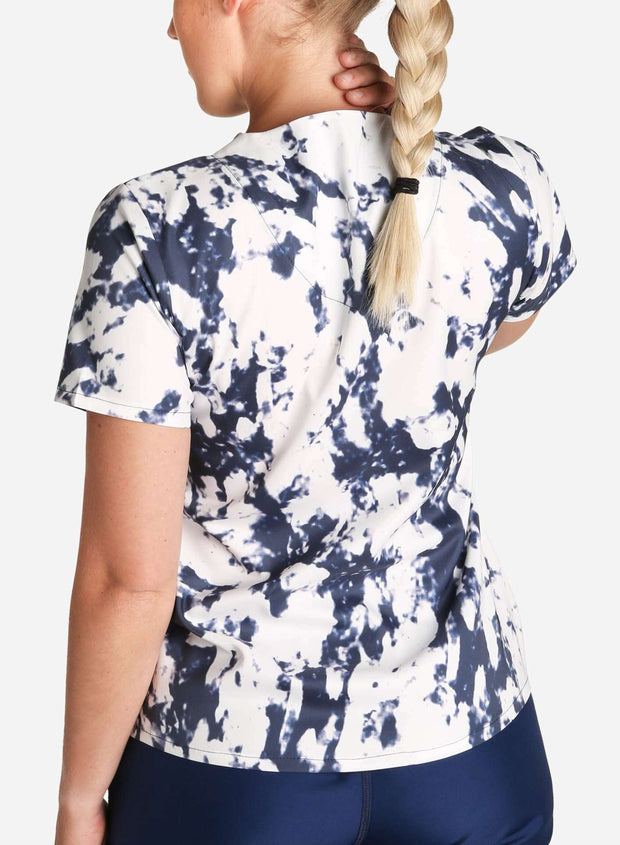 womens stretch scrub top in athletic abstract print navy-blue