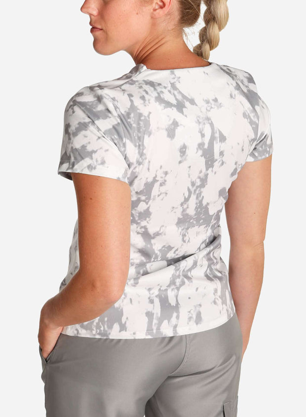 womens stretch scrub top in athletic abstract print gray and white color gray