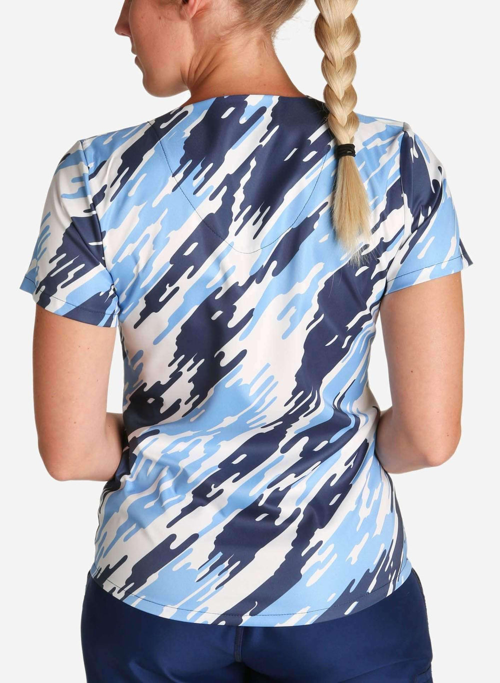 womens stretch scrub top in modern blue camouflage back
