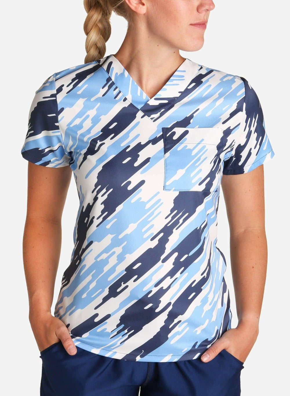 womens stretch scrub top in modern blue camouflage front