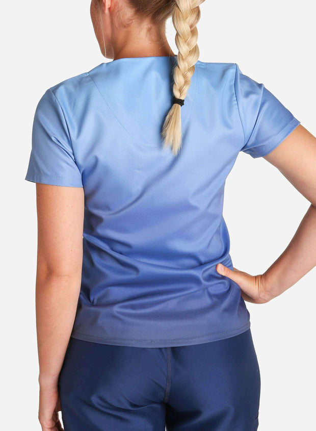 womens stretch scrub top in two tone blue ombre back