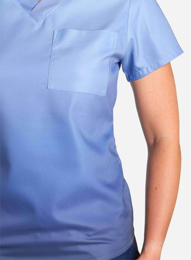 womens stretch scrub top in two tone blue ombre detail