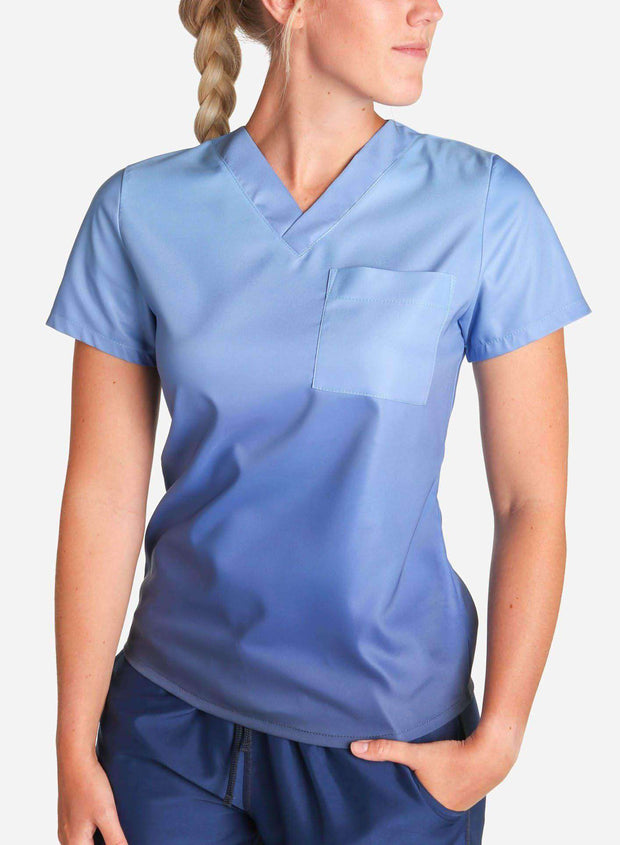 womens stretch scrub top in two tone blue ombre front