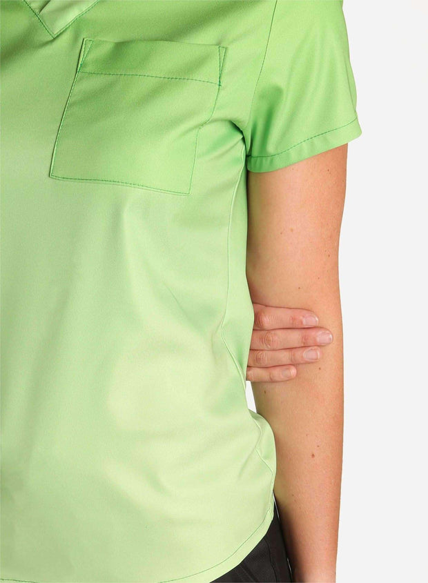 womens stretch scrub top in two tone green ombre detial
