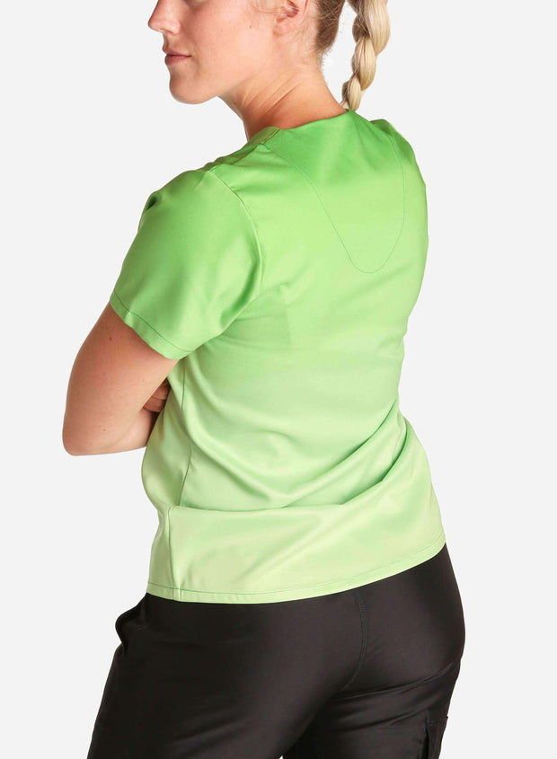 womens stretch scrub top in two tone green ombre front