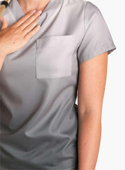 womens stretch scrub top in two tone ombre gray