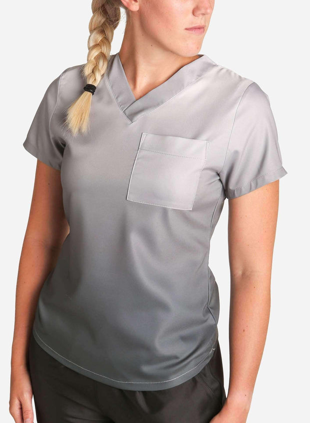 womens stretch scrub top in two tone ombre in gray