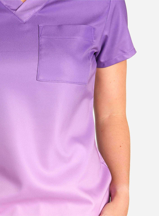 womens stretch scrub top in two tone purple ombre detial