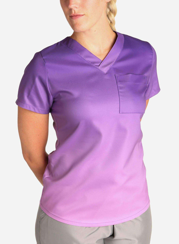 womens stretch scrub top in two tone purple ombre front