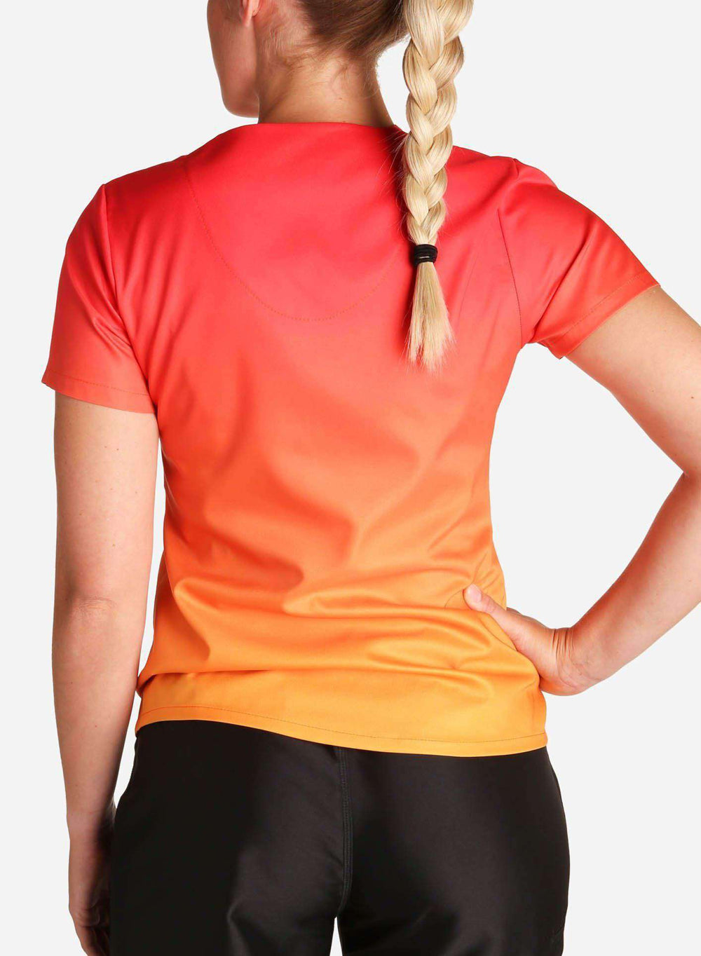 womens stretch scrub top in two tone red and orange ombre back