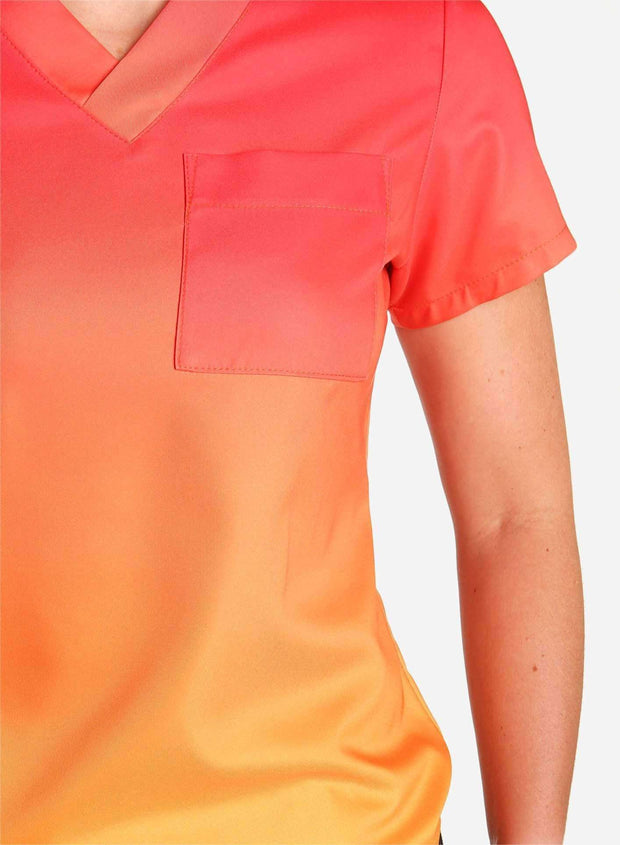 womens stretch scrub top in two tone red and orange ombre detail