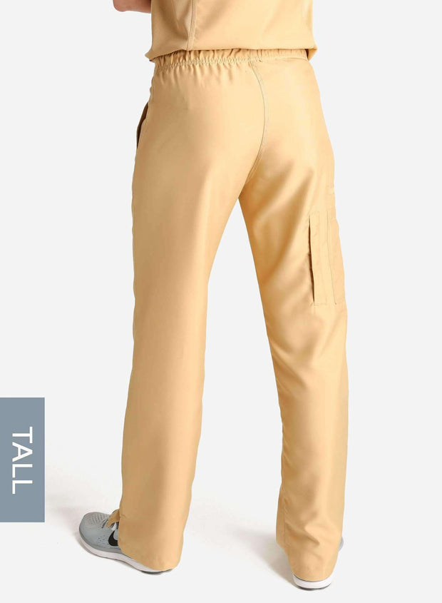 womens tall cargo pocket straight leg scrub pants khaki