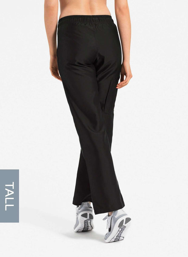 womens tall cargo pocket straight leg scrub pants black