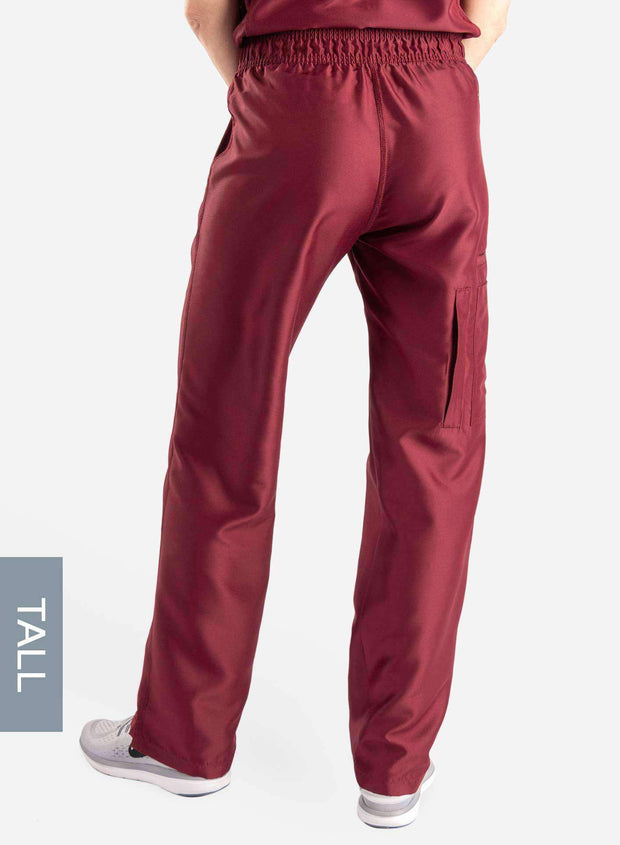 womens tall cargo pocket straight leg scrub pants bold burgundy